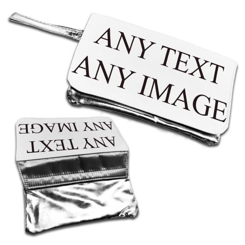 Personalised Any Text / Any Image handbag Purse - silver